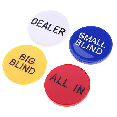 Acryl Dealer Button Little und Big Blind Alle in 4PC Combo Casino Club Prop