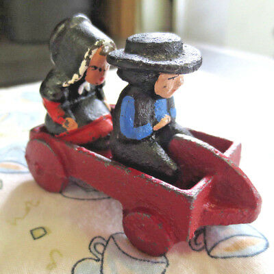 Vintage Cast Iron Amish couple in Tiny Cart - Wagon MINIATURES Pilgrims #311