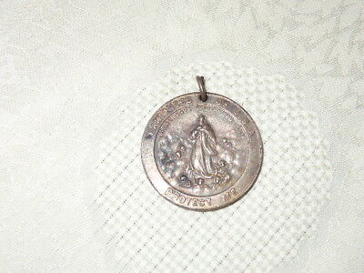 Antique Catholic Religious STERLING WWII Patroness Of USA Protect Me Medal