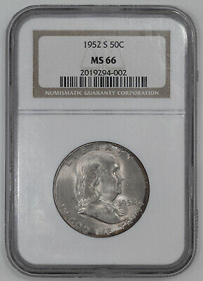 1952 S Franklin Half Dollar 50C Ngc Certified Ms 66 Mint State (002)