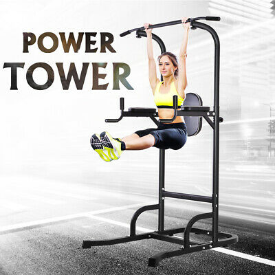Dip Station Pull Up Bar Fitness Power Tower Body Exercise Equipment Machine OT61