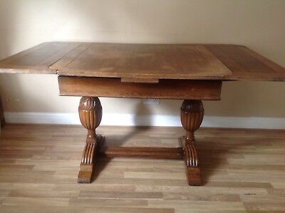 Antique Bulbous Carved Oak Extending Drawer Leaf Dining Table