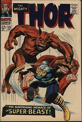 Thor 135. Vs Super-Beast. Fantastic Vfn Plus With White Pages Jack Kirby Art