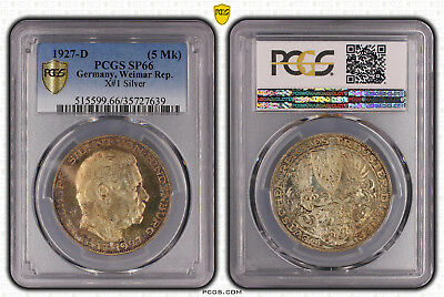 +++ Germany,Weimar Rep. 5 Mark 1927-D X#1 Silver PCGS SP66 +++