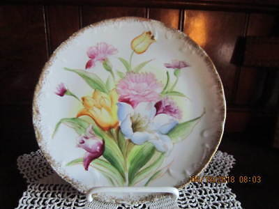 "Norleans Japan Porcelain Hand Painted 8"" Cabinet Plate w/ Flowers Gold Trim!"