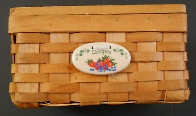 """Recipe Basket Box with Tie On Ceramic Strawberries Berries with Wooden Lid 7"""""""