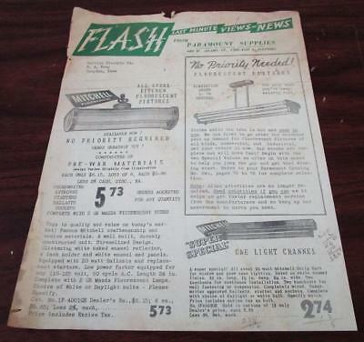 Vintage 1940's Paramount Supplies Fluorescent Light Fixtures Dealer Brochure N