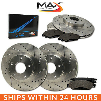 1996 1997 Lincoln Town Car Slotted Drilled Rotor w/Metallic Pads F+R