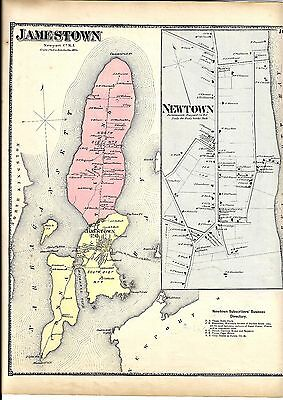 1870 Jamestown, Ri. Map That Has Been Removed From The Beer's 1870 Atlas