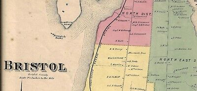 1870 Bristol,  Ri. Map Removed From The Beers Atlas 0F 1870
