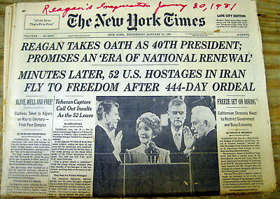 1981 NY Times newspapers RONALD REAGAN INAUGURATED PRESIDENT Iran Hostages Freed