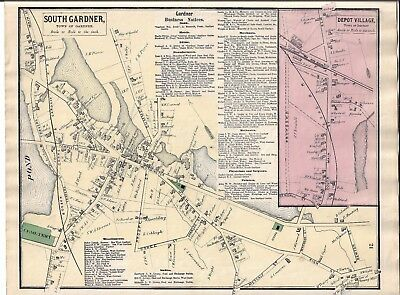 1870 South Gardner, Ma. Map That Was Removed From The Beer's 1870 Atlas