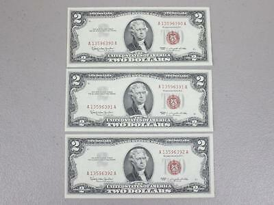 1963 $2.00 United States Red Seal Notes (Set Of 3 Consecutive Numbers) Xf To Au