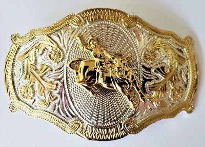 Big Western Oval Texas Gold And Silver Rodeo Bull Ride Cowboy Belt Buckle  Big-