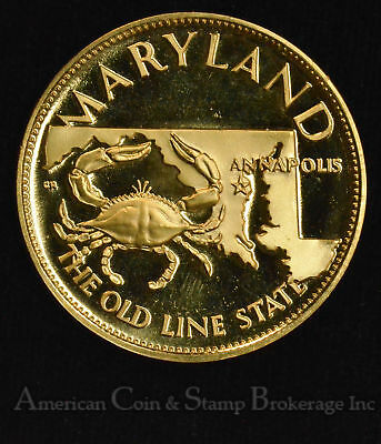 7th State Maryland Old Line Gold Plated Silver Medal