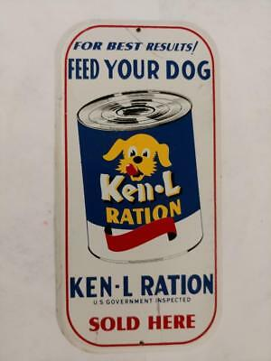 VINTAGE KEN-L-RATION DOG FOOD TIN LITHO DOOR PUSH SIGN WITH CAN-8x4!!