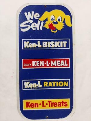 VINTAGE KEN-L-RATION/BISKIT/MEAL/DOG FOOD TIN LITHO DOOR PUSH SIGN WITH CAN-8x4!