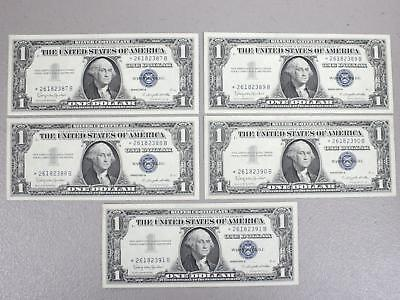 1957B $1.00 Consecutive Numbers Silver Certificates *star Notes* (Lot Of 5)