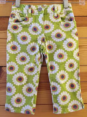 Mini Boden Green Capris Cropped Pants with Daisy Flower Print Girls Size 4Y