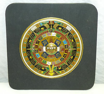 Vintage Mayan Aztec Calendar Sun Stone Wallhanging Wall Decor Plaque Mexico