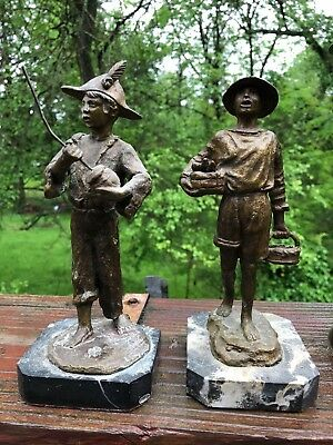 Antique Pair of Bronze FIGURINES ON MARBLE BASE  - ESTATE FIND
