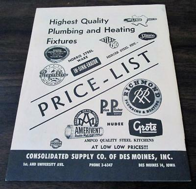 Vintage 1955 Consolidated Supply Co. Plumbing Heating Fixtures Dealer Catalog N