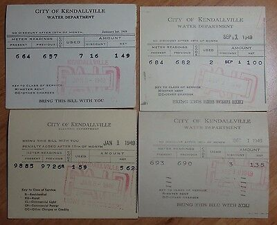 Lot Of 4 1949 City Of Kendallville Indiana Water Department Bill Stubs