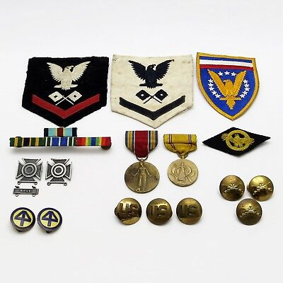 US ARMY NAVY WW2 MILITARY LOT 3rd Class Petty Officer Signalman Patches STERLING