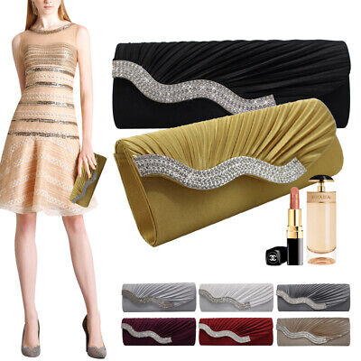 New Ladies Satin Pleated Evening Party Wedding Prom Envelope Clutch Hand Bag