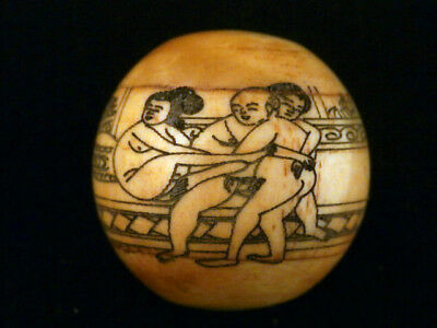 Great Antique Chinese Bone Hand Painting *Man/2Women* Bead A183