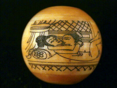 Great Antique Chinese Bone Hand Painting *Man/Woman* Bead A187