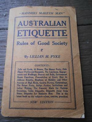 1945 Australian Etiquette rules culture society weddings functions rank book