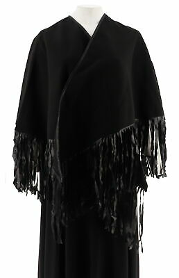 VT Luxe Faux Wool Cape Fringe Trim Black Relaxed Fit Missy One Size NEW  A228360 47676aea1