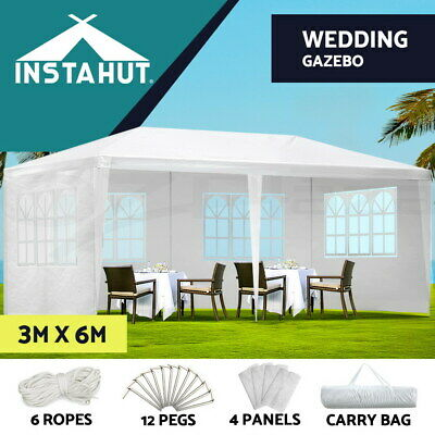 Instahut Gazebo 3x6 Outdoor Gazebos Party Wedding Marquee Tent Camping White