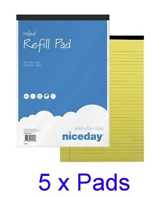 Pack of 5 A4 Legal Pad 50Shts Yellow Refill Pad Notebook Memo Books Pads