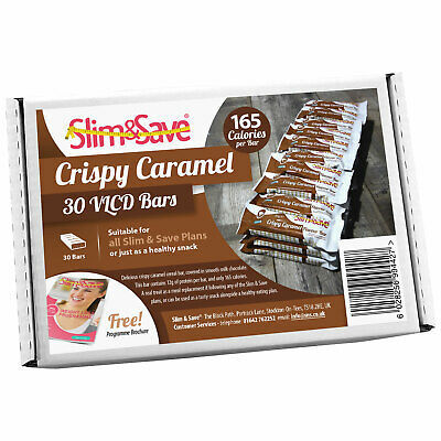 30 Crispy Caramel LowCarb HighProtein Meal Replacement VLCD Diet Bars Slim&Save