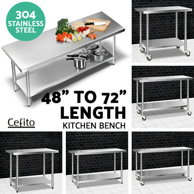 【20%OFF】304 Stainless Steel Kitchen Bench Work Benches Food Prep Table w/ Wheels