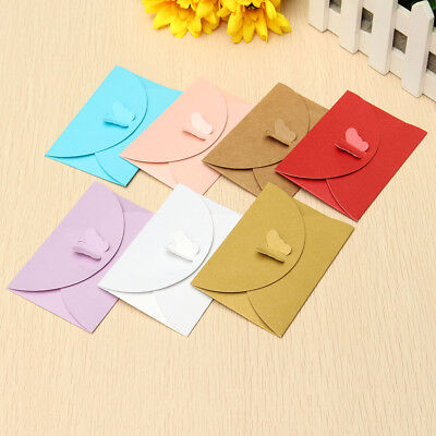 50Pcs Retro Butterfly Buckle Simple Kraft Paper Envelopes Wedding Invitation