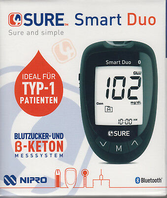 4SURE Smart Duo Glucemia + Keton-Messgerät MG / DL Plus Bz-Teststreifen - Nuevo