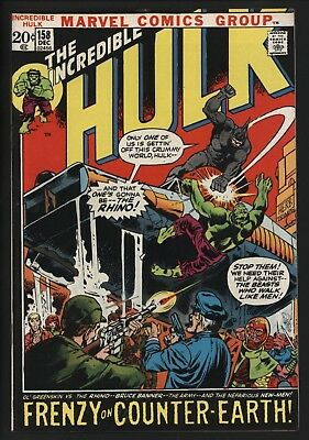 Incredible Hulk #158  Vs Rhino On Counter-Earth. Great Issue! Tight Glossy Cents