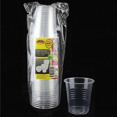 Bulk Pack Of 40 Disposable Clear Plastic Cups 200Ml Party Catering Supplies