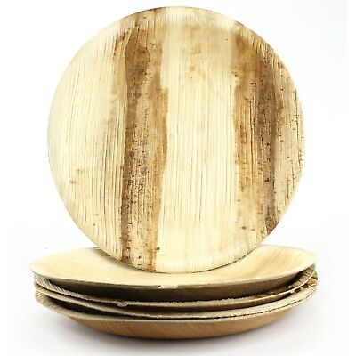 Natural Areca Palm Leaf Plates Small Round 6 Biodegradable Eco-Friendly Party