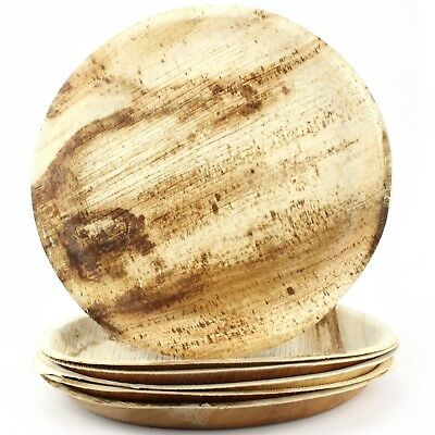 Natural Areca Palm Leaf Plates Large Round 6 Biodegradable Eco-Friendly Party