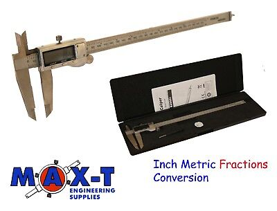 "12""/300mm Digital Vernier Caliper Inch Metric Fractions Conversion Stainless"