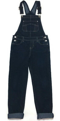 Jordache Denim Bib Overalls Slim 7/8 Girls Glitter 27W 23L Stretch Dark Wash