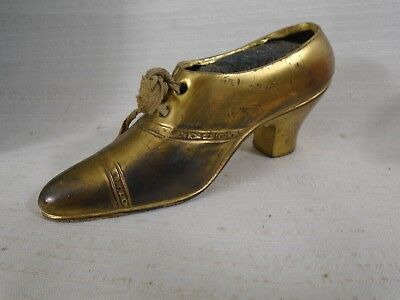 Antique Victorian Figural Shoe Pin Cushion Sewing Collectible Gilt Real Lace