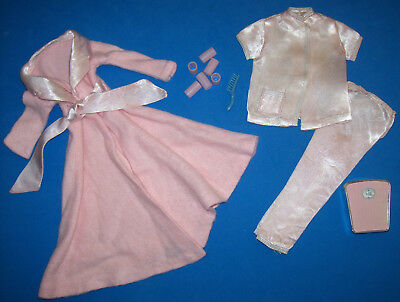 Vintage 1965 Barbie Doll SLUMBER PARTY Pink Robe & Satin PJ's #1642