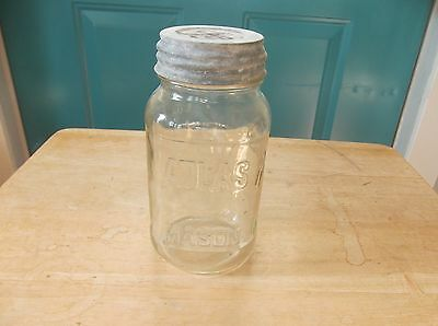 Vintage Square Clear Glass Atlas Mason Quart Size Jar with Zinc Lid