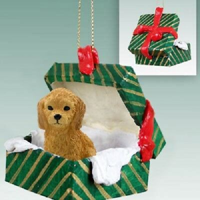 GOLDEN DOODLE Christmas GREEN GIFT BOX Holiday Ornament FIGURINE puppy dog NEW