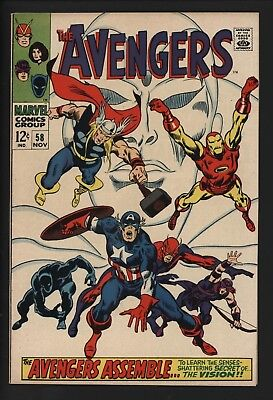 Avengers #58 Origin Vision! Stunning Copy White Pages Black Panther Appears